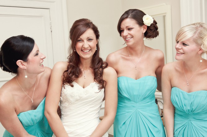 bridesmaids in tiffany blue | Abigail White Photography