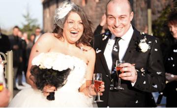 A Chic, Black & White, Winter Barn Wedding