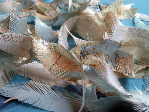 Diy map feathers