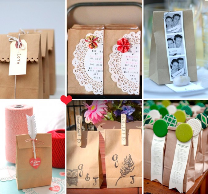Ideas For Wedding Gift Bags : Accessorise your brown paper bags by using craft scissors to create ...
