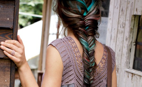 rainbow fishtail braid