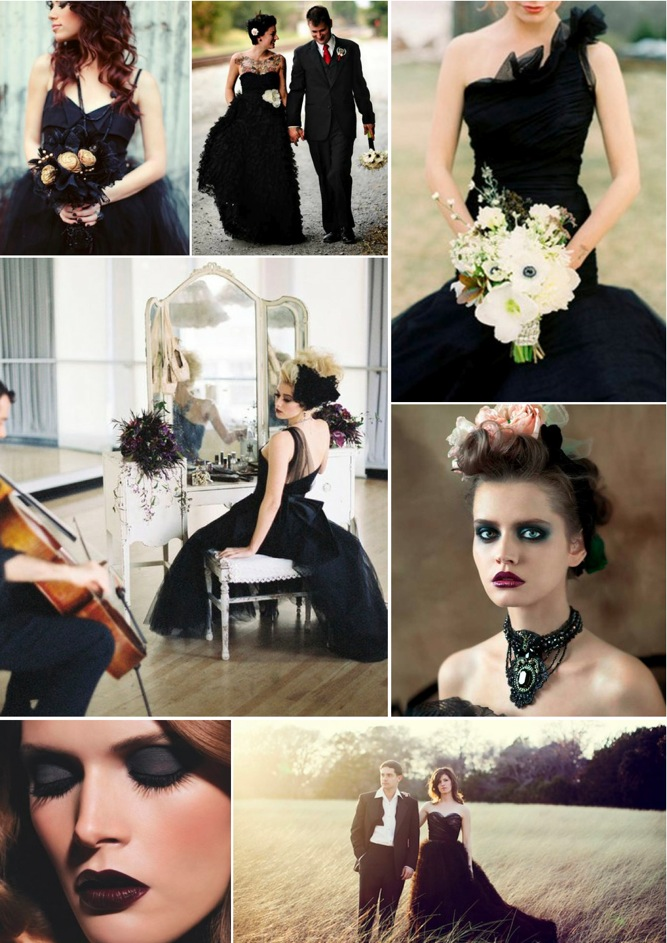 Check out this inspiration board full of brides in beautiful black wedding