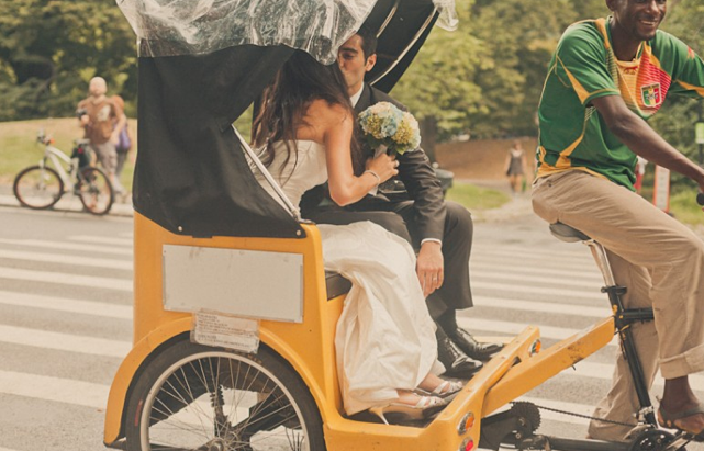 wedding getaway bicycle taxi