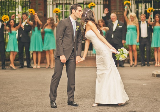 turquoise & yellow central park wedding