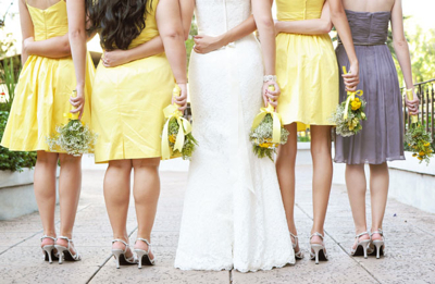 yellow and grey bridesmaids