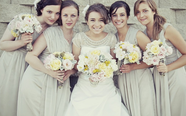 grey bridesmaids dresses & yellow bouquets