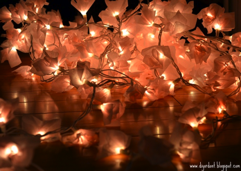 Romantic feminine tissue paper string lights