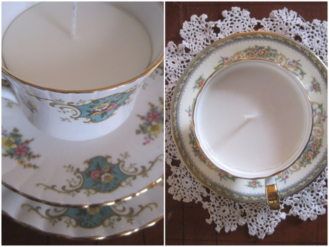 DIY vintage tea cup candle