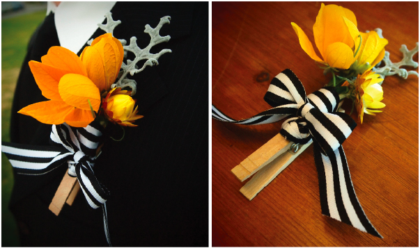 DIY clothes peg boutonniere