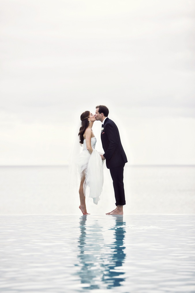 bride and groom kissing in the water Studio 1208
