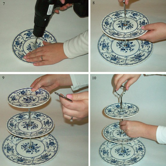 I discovered a fantastic vintage plate cake stand tutorial over on Rock My