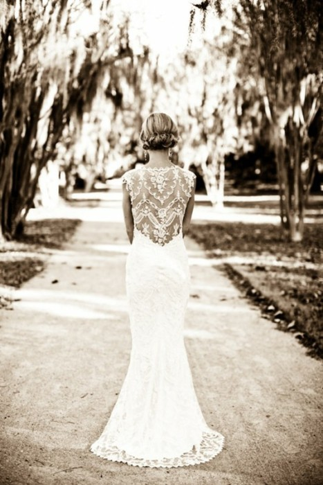bride beautiful dress looking at path ahead