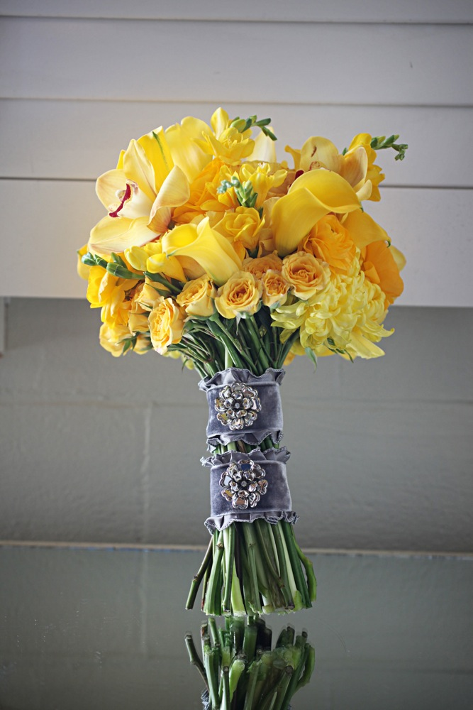 Yellow and grey flowers bouquet olympic flowers yellow wedding yellow and grey flowers bouquet mightylinksfo