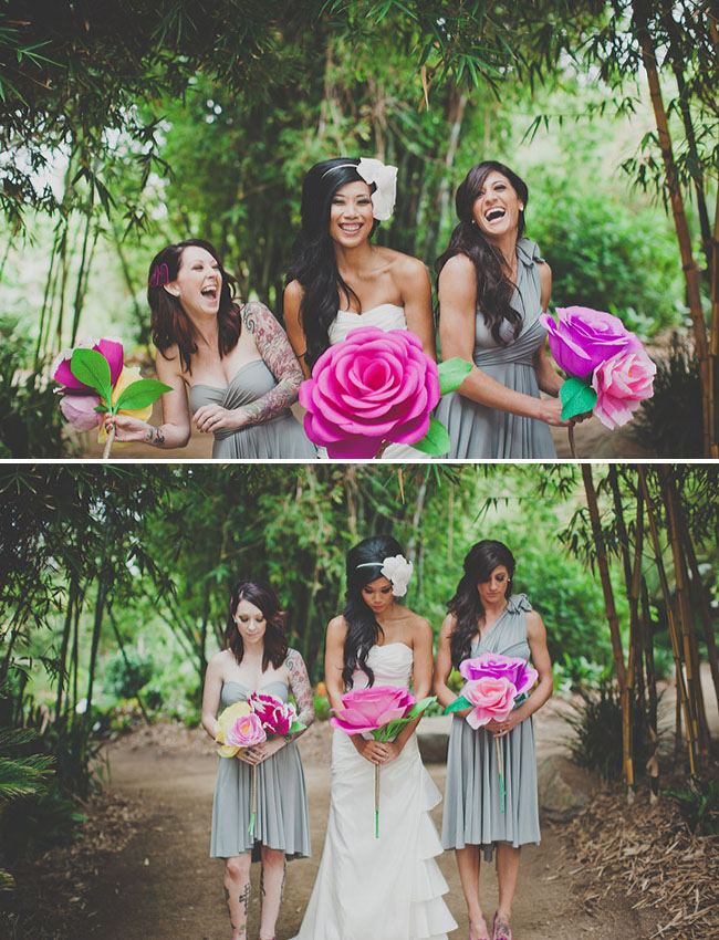 giant paper flower alternative bouquet wedding