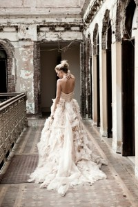 ruffled wedding dress via The Lane