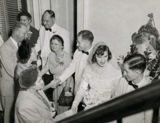 vintage wedding receiving line