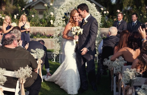Navy Blue and Peach California Wedding | Kamee June Photography
