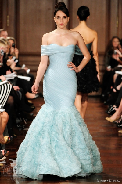 Wedding Pictures With Blue Bridesmaid Dresses : Wedding dress of the week pale bllue rk by romona keveza