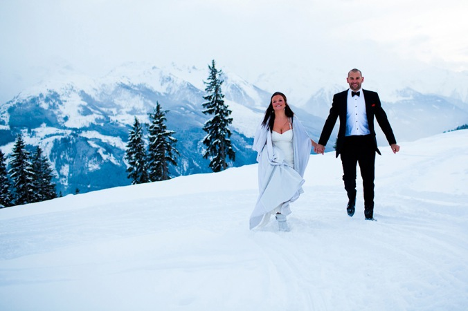 bride and groom in the snow, Austria, winter wedding
