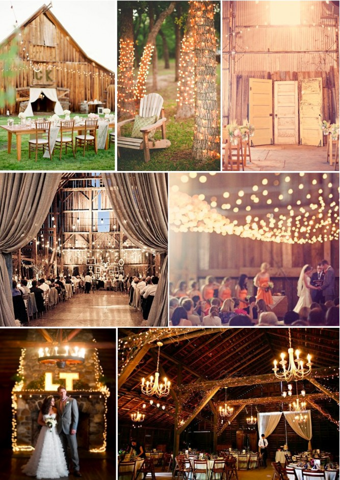 , folks, you can't have a rustic barn wedding without fairy lights