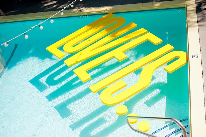 yellow and orange modern typographic wedding in Palm Springs | Mike Arick (30)
