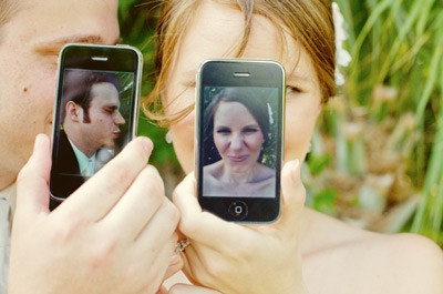 cute iphone wedding photo