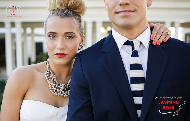 31 Bits necklace on bride and stripy tie on groom
