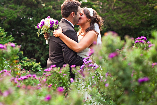 rustic chic green, purple and brown wedding