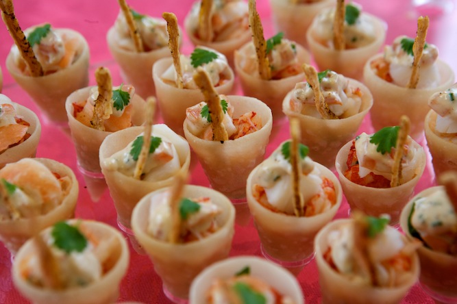 Tapenade Canapes - crispy cones of lobster and crayfish cocktail with bloody mary