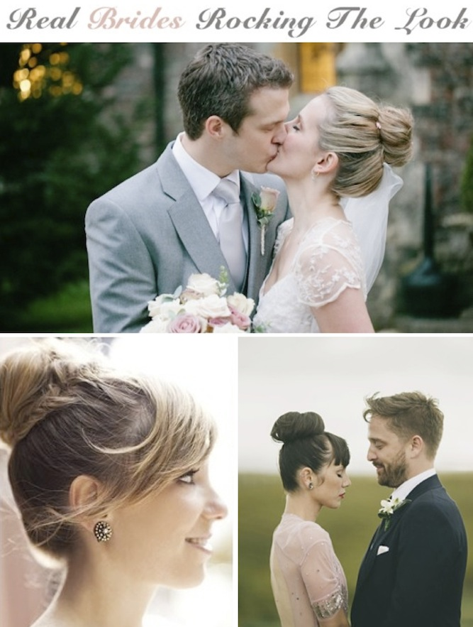 real brides with ballerina buns DIY hair tutorial