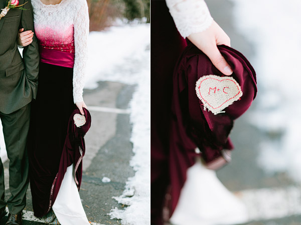 unique velvet and lace wedding dress