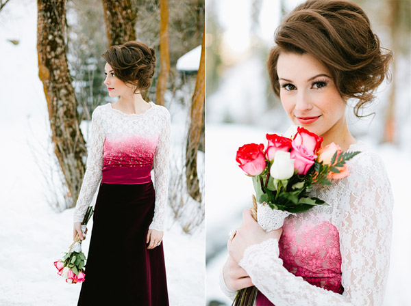 bride in unique dip dyed lace wedding dress
