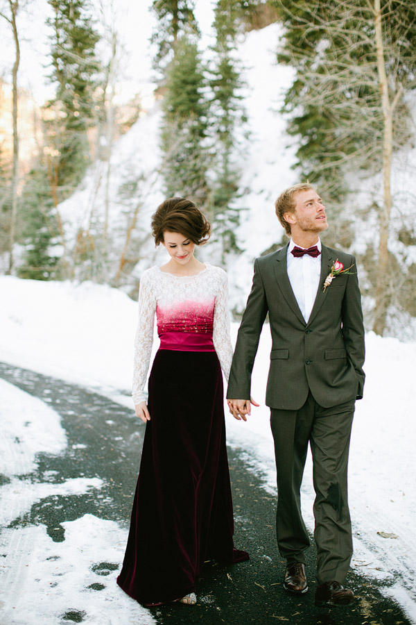 Bride and Groom in the snow Ciara Richardson Photography