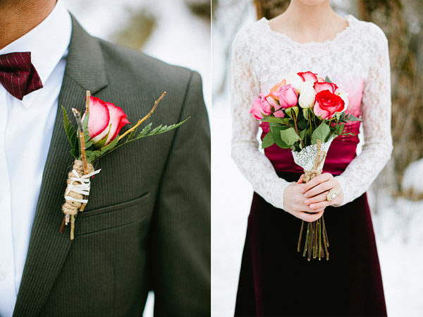 pink rose boutonniere and bouquet