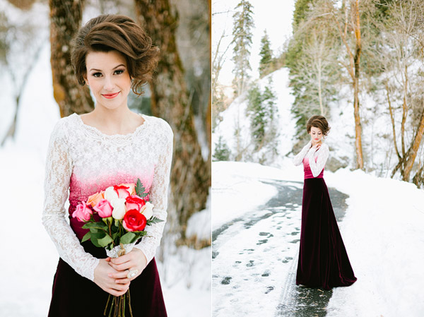 bride in unique dip dyed lace and velvet wedding dress