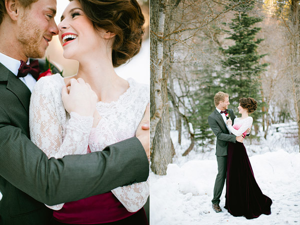 bride and groom laughing in the snow