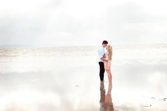 Romantic, Peachy Beach Engagement Shoot