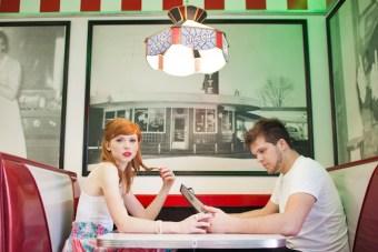 Chic 1950s Retro Diner Engagement Shoot