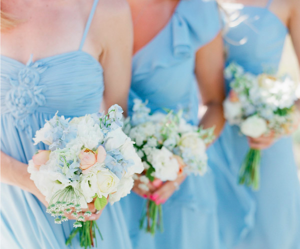 peach and blue beach wedding inspiration