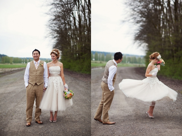 bride twirling in short prom style wedding dress by Justin Alexander