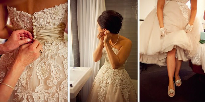 bride wearing short justin alexander dress