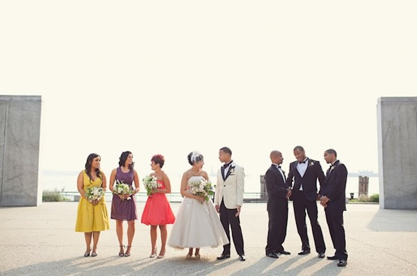 justin alexander dress and colourful bridesmaids