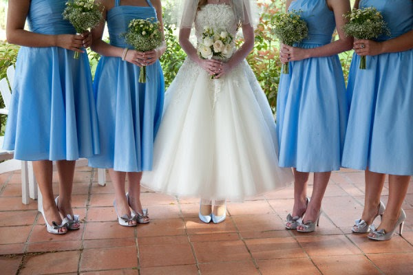 justin alexander wedding dress and blue bridesmaids dresses
