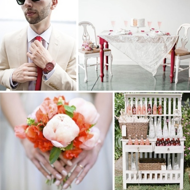 red and blush pink wedding inspiration board