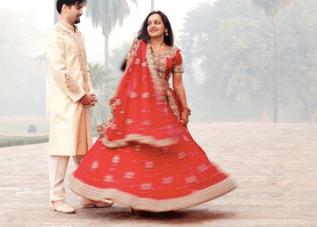 Breathtaking Red & Gold Indian Wedding: Fairy Lights & Marigolds