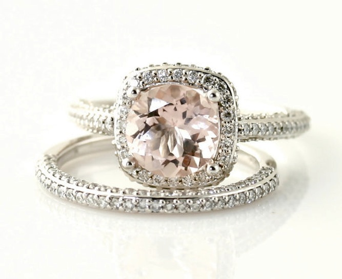 Etsy pink engagement ring and wedding band set