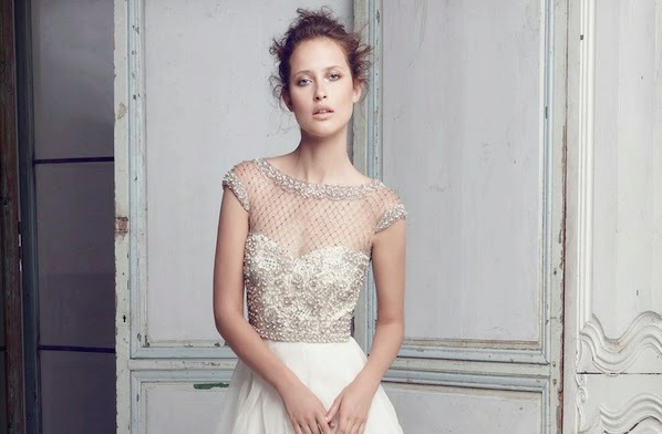 Lattice Pearls Beaded Bodice Gown by Collette Dinnigan