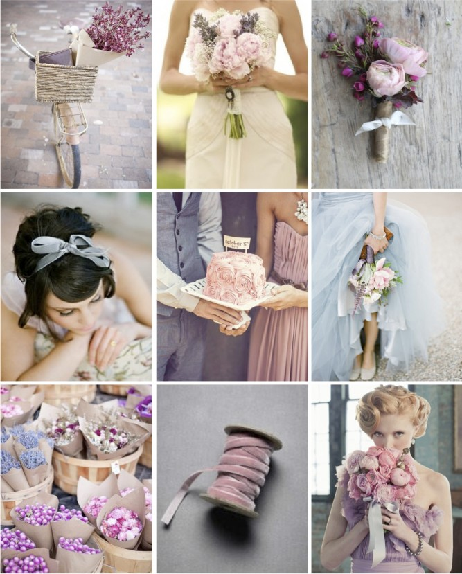 Pale Blue, Mauve, Pink & Grey Wedding Inspiration