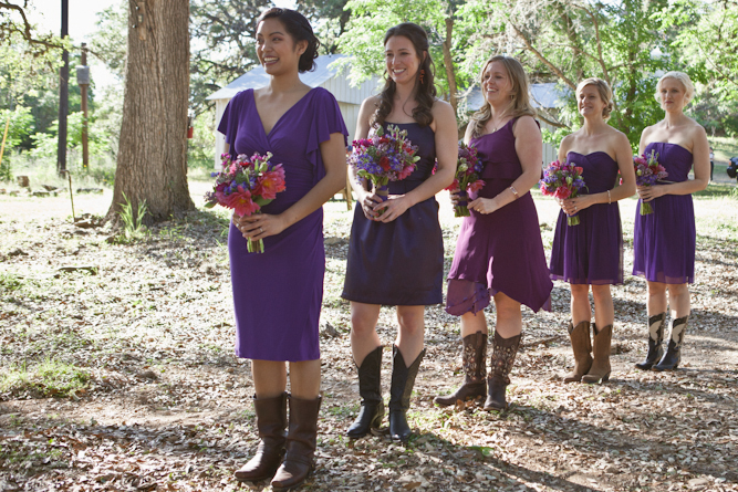 purple bridesmaids dresses and cowboy boots