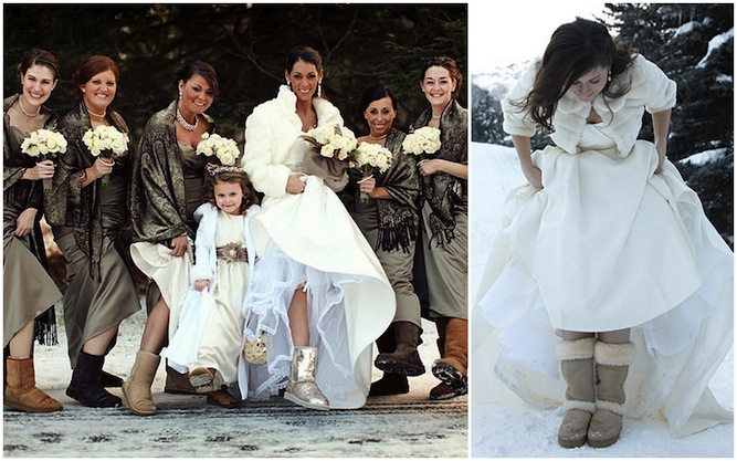 brides in UGG boots at weddings